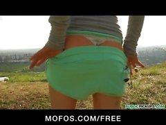 SEXY blond Czech jogger is paid for sex in public