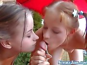 twin sisters giving hand job