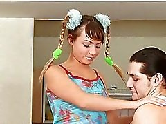 Hot pigtailed bunny slurps on big raging shaft