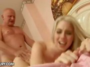Grandpa getting lucky as he drills fresh pussy