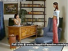 Cameron and Delores schoolgirl lesbo girls office sex
