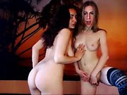 Teen lesbians playing with sex toys on webcam