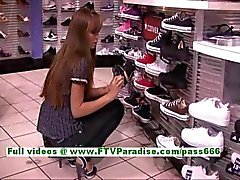capri amazing brunette girl public flashing tits