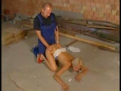 Sporty young blonde boned in shaved hole
