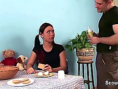 Step-brother seduce german step-sister to fuck in kitchen