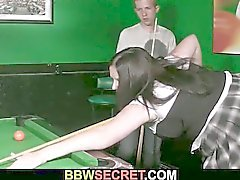 Horny bbw fucked on the pool table by a young slim cock