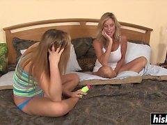 Hot blonde MILF seduces her stepdaughter