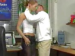 Skinny German teen fucked in the office