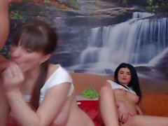 Two Hot Babes Gets Fucked By A Lucky Guy