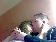 Cute English teen sucking bf's cock on cam