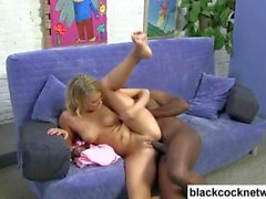 Horny Mandingo ravages a young blondes pussy