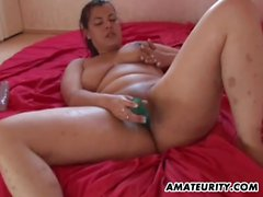 Chubby amateur GF toys and sucks with cum on tits