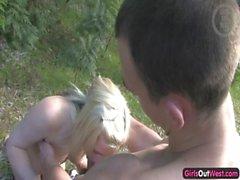 Frisky amateur blondie screams in pleasure while fucked