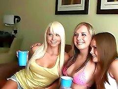Hot college sluts strip in hotel room