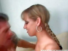 Young hottie in pigtails gives a lusty blowjob