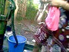BANGLADESHI - Deshi Girl Bathing outdoor and Recording
