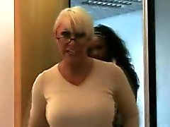 Older guy strips for British CFNM lady in office