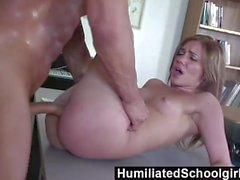 HumiliatedSchoolGirls - The slut knows how to mellow an irate teacher.