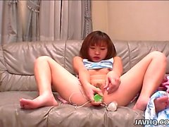 Tight Asian teen cunt toyed solo