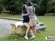 Two slender teens Milagres and Margot intimate lesbian sex