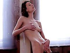 Sextoy enters moist holes