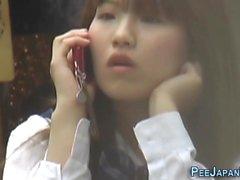 Japanese teen public piss