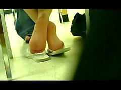 German Girl Feet in Libary
