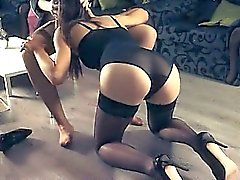 Hot babes loving with strap in garters