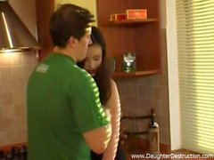 Slim teen girlfriend extremely fucked in a kitchen