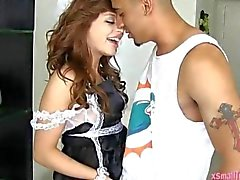 Horny maid Aurora Monroe fucks a huge dick