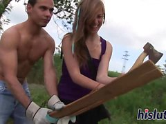 Kinky teenage babe enjoys an outdoors fuck