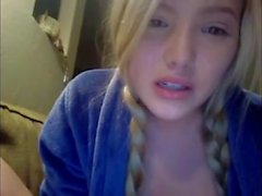 Hot German Blonde Masturbates Live On Skype