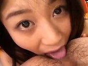 Asian teen blowjob and smallow