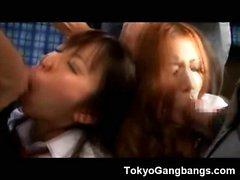Helpless Asian Teens Gangbanged in a Bus!
