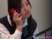 Asian teen fingers muff