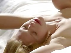 Shaved blondie babe in art making love