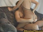 Sexy blonde amateur in fishnet