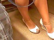 Public Shiny Pantyhose Miniskirt