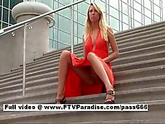 Awesome girl Brynn blonde girl public flashing tits and posing tits