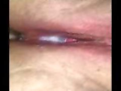 Creampie dripping from her pussy