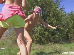 Young busty Viktoria rub a lesbians cunny