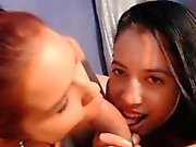 Two teen thai girls playing and blowjob