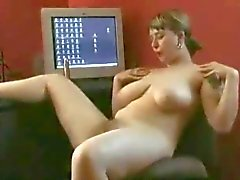 Fat Chubby Teen with Big tits playing with hairy pussy