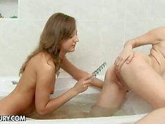 Brunette teen lesbians inna and zhenia shower sex
