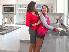 Ariella undressed her stepdaughter and licked her pussy