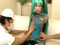 Petite Japanese teen with long green hair gets pleased with