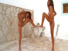 Two russian schoolmates naked outdoor