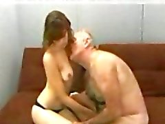 Donna fucked by lucky old man till cumshot