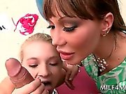 Dirty MILF and cunt blonde teen sharing loaded cock in 3some