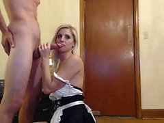 Slender young beauty with sexy long legs shows off her oral